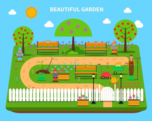 Ilustracja koncepcja ogrodu