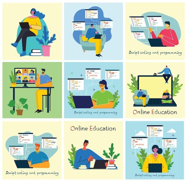 Ilustracja koncepcja online seminarium internetowego. ludzie używają czatu wideo na komputerach stacjonarnych i laptopach do prowadzenia konferencji.