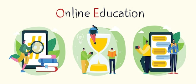 Ilustracja koncepcja online seminarium internetowego.
