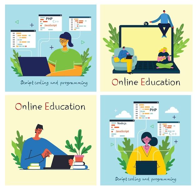 Ilustracja koncepcja online seminarium w płaskiej konstrukcji