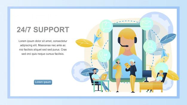 Ilustracja koncepcja online wsparcie klienta 24/7