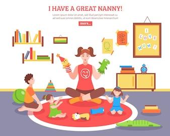 Ilustracja koncepcja opiekunka do dziecka
