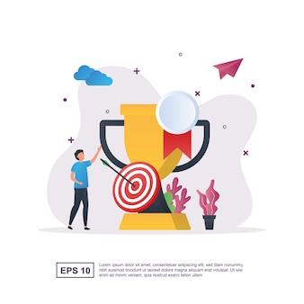 Ilustracja koncepcja osiągnięcia z dużymi trofeami i celami.