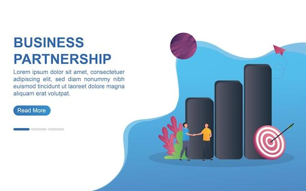Ilustracja koncepcja partnerstwa biznesowego z ludźmi, ściskając ręce i wykres słupkowy.