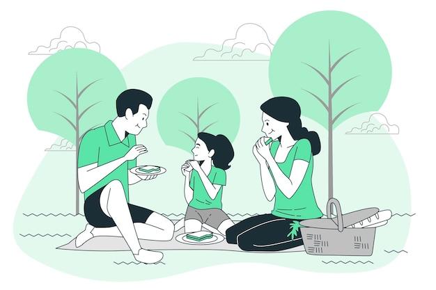 Ilustracja koncepcja pikniku