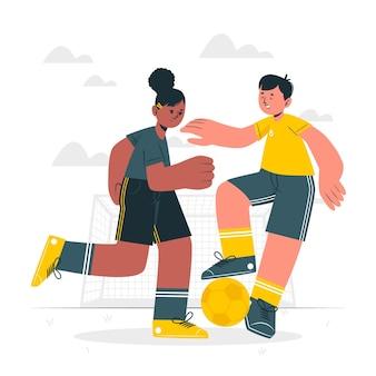 Ilustracja koncepcja piłki nożnej dla juniorów