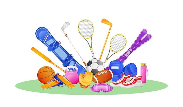 Ilustracja koncepcja płaski inny sprzęt sportowy