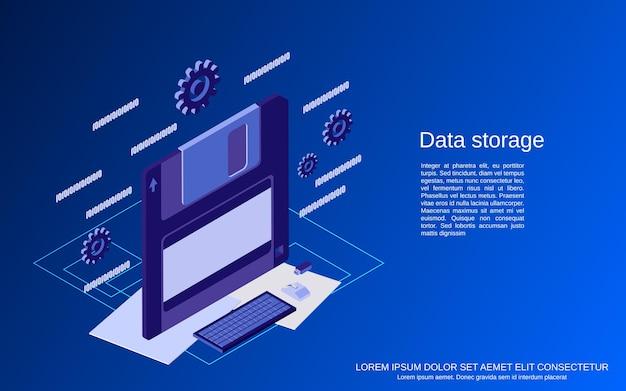 Ilustracja koncepcja płaski izometryczny wektor przechowywania danych