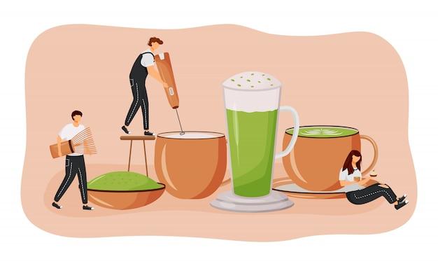 Ilustracja koncepcja płaski latte matcha. zielona herbata w proszku. mężczyzna robi gorącemu napojowi. japoński pożywny napój. barista postaci z kreskówek 2d do projektowania stron internetowych. kreatywny pomysł na kawę