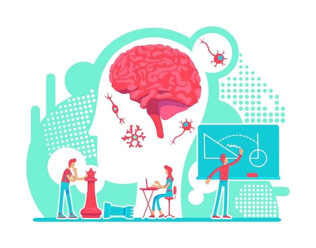 Ilustracja koncepcja płaski neurologii. system nerwowy. funkcja mózgu, edukacja i inteligencja. zdrowy styl życia postaci z kreskówek 2d