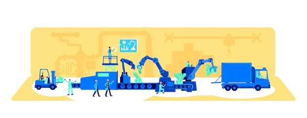 Ilustracja koncepcja płaski procesu produkcji fabryki