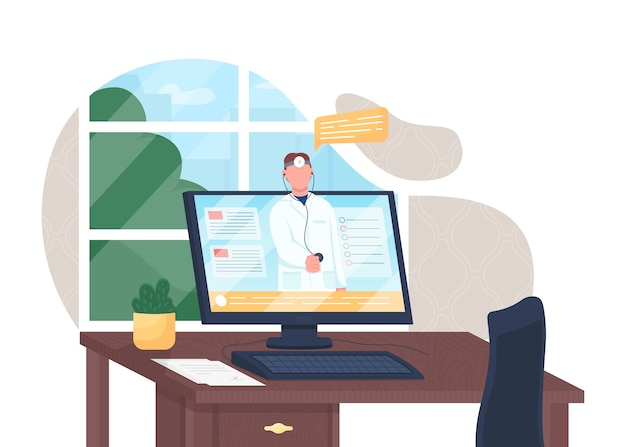 Ilustracja koncepcja płaskiego lekarza online. wsparcie kliniki. wizyta w szpitalu przez internet. elektroniczna opieka zdrowotna 2d postać z kreskówki do projektowania stron internetowych. kreatywny pomysł telemedycyny