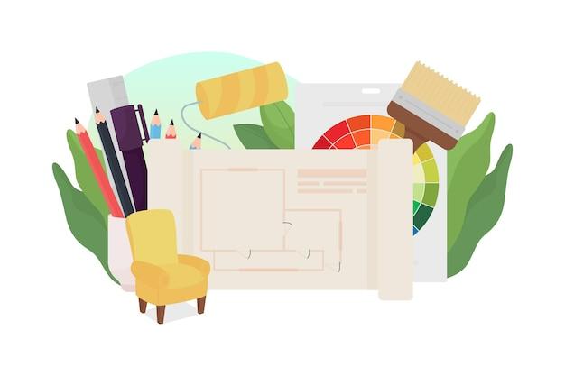 Ilustracja koncepcja płaskiego projektowania wnętrz
