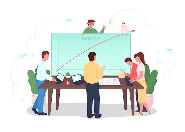 Ilustracja koncepcja płaskiego uruchomienia. praca zespołowa nad rozwojem projektu. analiza wykresu finansowego. zespół burzy mózgów postaci z kreskówek 2d do projektowania stron internetowych. uruchomienie kreatywnego pomysłu firmy