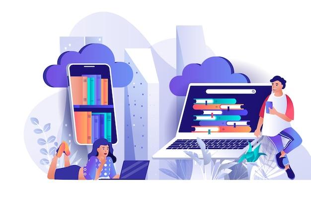 Ilustracja koncepcja płaskiej biblioteki w chmurze z postaciami ludzi