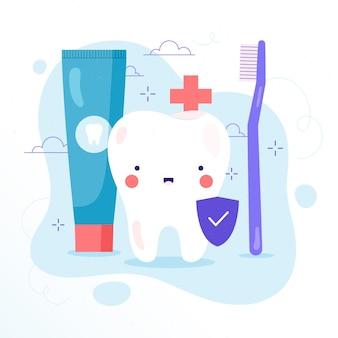 Ilustracja koncepcja płaskiej opieki stomatologicznej