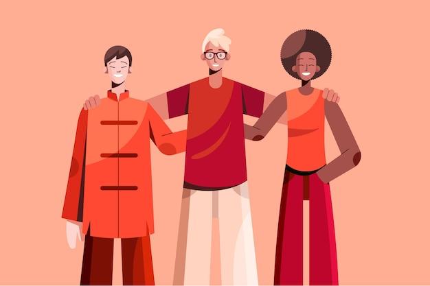 Ilustracja koncepcja płaskiej przyjaźni etnicznej
