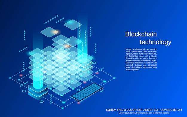 Ilustracja koncepcja płaskiej technologii blockchain 3d izometryczny wektor