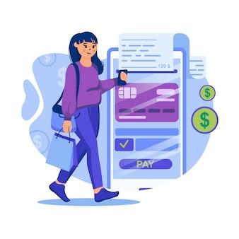 Ilustracja koncepcja płatności mobilnych z postaciami w płaskiej konstrukcji