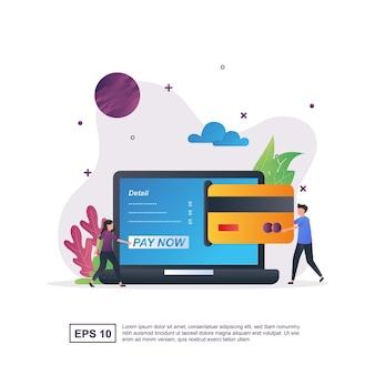 Ilustracja koncepcja płatności online z ludźmi pchającymi karty kredytowe.