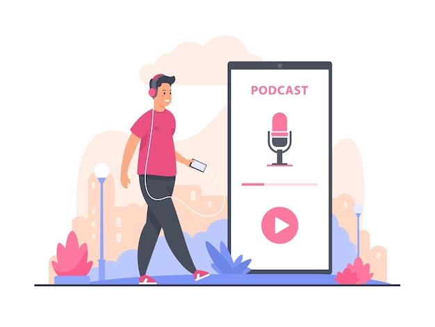Ilustracja koncepcja podcastu audio. męska postać z kreskówki spacerująca i słuchająca nagrania podcastu audio za pomocą smartfona