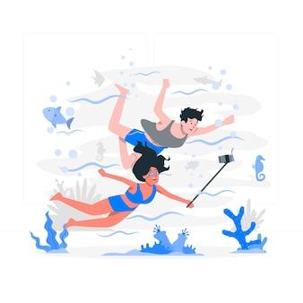 Ilustracja koncepcja podwodne selfie
