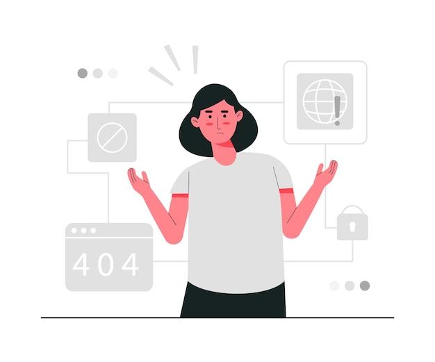 Ilustracja koncepcja połączenia internetowego błąd