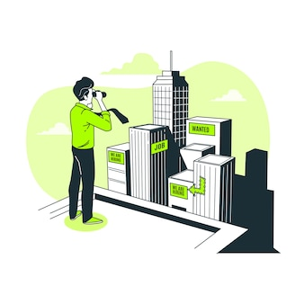 Ilustracja koncepcja polowania na pracę