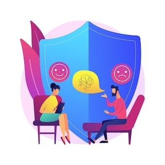 Ilustracja koncepcja poradnictwa depresji. profesjonalna konsultacja lekarska, objawy depresji, leczenie, poradnictwo psychiatry, stan zdrowia psychicznego.