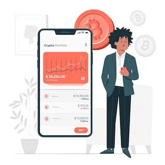 Ilustracja koncepcja portfela kryptowalut