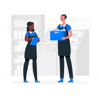 Ilustracja koncepcja pracowników supermarketów