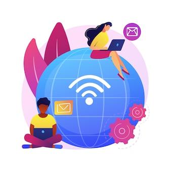 Ilustracja koncepcja pracy na odległość. biuro na odległość, praca z domu, możliwość pracy zdalnej, technologia komunikacji, spotkanie zespołu online, cyfrowy nomad