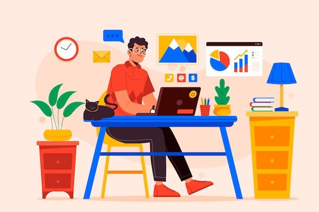 Ilustracja koncepcja pracy zdalnej