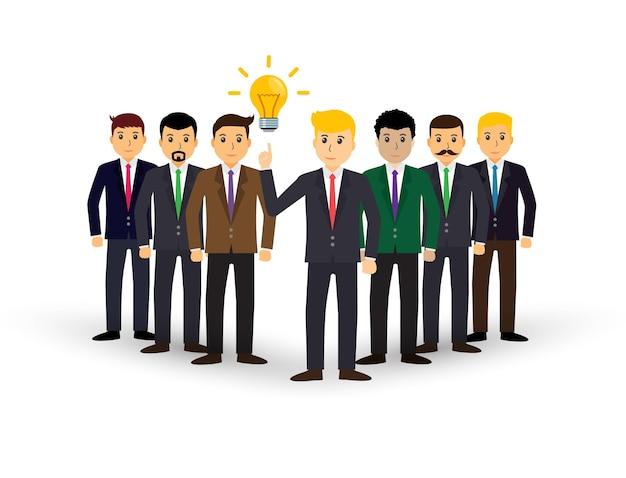 Ilustracja koncepcja pracy zespołowej projektu ludzi biznesu pracujących razem jako biznesmen zespołowy
