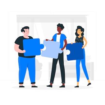 Ilustracja koncepcja pracy zespołu