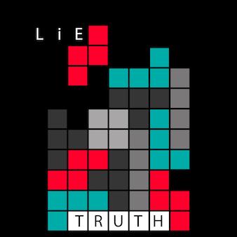 Ilustracja koncepcja prawdy i kłamstwa. gra retro z cegły tetris. pomysł na logiczne i krytyczne myślenie. informacje prawdziwe i fałszywe.