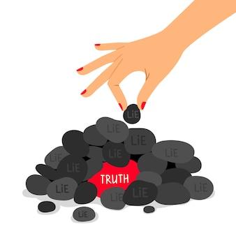 Ilustracja koncepcja prawdy i kłamstwa. informacje prawdziwe i fałszywe. metafora poprawnych i fałszywych odpowiedzi.