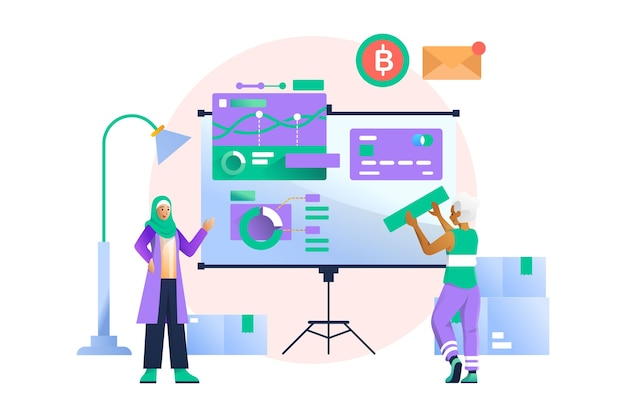 Ilustracja koncepcja prezentacji biznesowych