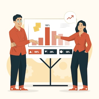 Ilustracja koncepcja prezentacji biznesplanu