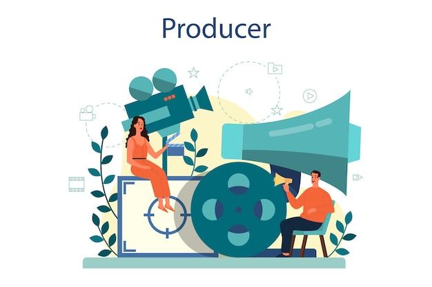 Ilustracja koncepcja producenta. produkcja filmowa i muzyczna. idea kreatywnych ludzi i zawodu. wyposażenie studia.