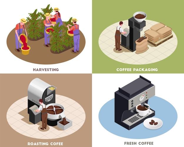 Ilustracja koncepcja produkcji przemysłu kawy