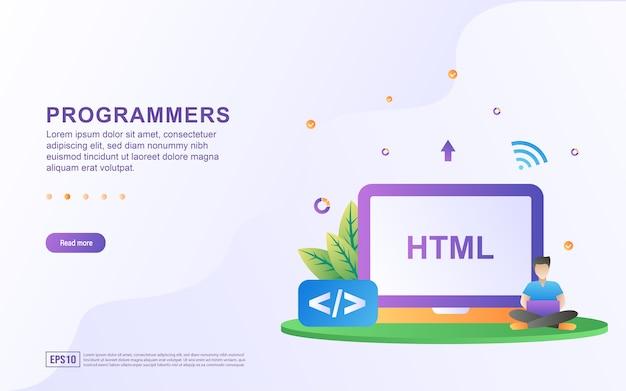 Ilustracja koncepcja programistów z językiem programowania html.