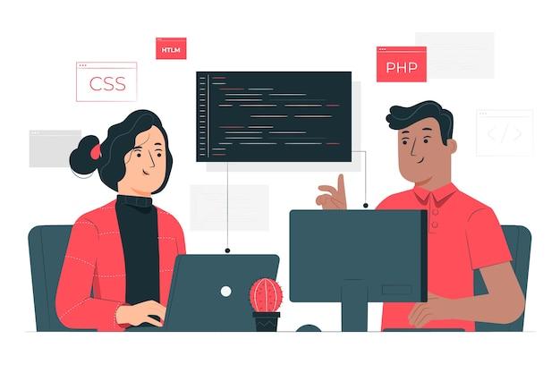 Ilustracja koncepcja programowania pary