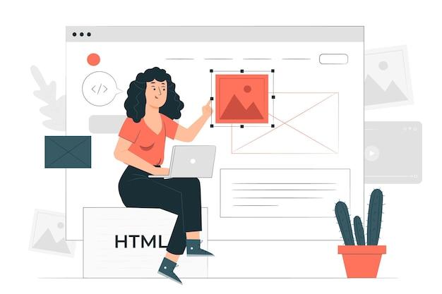 Ilustracja koncepcja projektanta strony internetowej