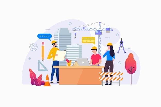 Ilustracja koncepcja projektowania agencji architektury
