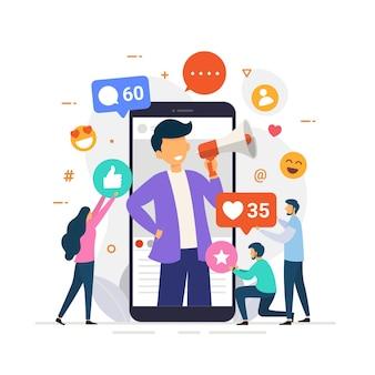 Ilustracja koncepcja projektowania influencer mediów społecznościowych