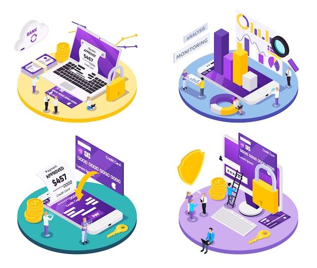 Ilustracja koncepcja projektowania izometrycznego płatności online