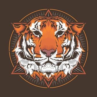 Ilustracja koncepcja projektowania szczegółowego wektora głowy tygrysa i koło sztuki