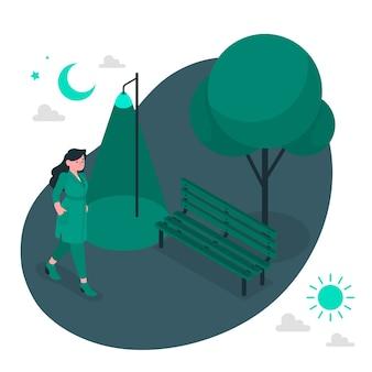 Ilustracja koncepcja przed świtem