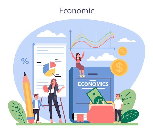 Ilustracja koncepcja przedmiotu szkoły ekonomicznej w stylu cartoon